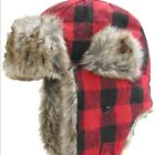 Igloos Brand Beanie Hat CAP FAUX FUR Adult Mens One Size Knit Red M/L NEW