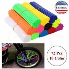 72Pcs Motorcycle Dirt Bike Spoke Skins Covers Wraps Wheel Rim Guard Protector