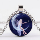 Women on Fairy Moon Art Photo Tibet Silver Cabochon Glass Pendant Chain Necklace