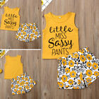 Toddler Kid Baby Girls Floral Sassy Tops T shirt Pants Shorts Outfit Clothes US