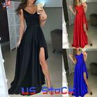 Sexy Women Maxi Dress Formal Evening Party Long Ball Gown High Slit Cocktail US