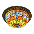 Antique Tiffany Style Stained Glass Dragonfly Flush Mount Ceiling Light Fixture