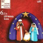 New 65 Ft Inflatable Led Nativity Scene Christmas Airblown Star Mary Baby Jesus
