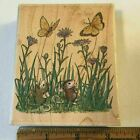 Stampabilities House Mouse Butterfliers Amanda  Maxwell Mice Wood Rubber Stamp