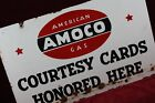 ** VINTAGE ANTIQUE AMOCO COURTESY CARDS PORCELAIN SIGN 1930'S GAS STATION  **