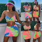 Womens 2 Piece Bodycon Two Piece Tank Top and Skirt Set Bandage Club Party Dress