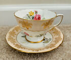 Vintage ADDERLEY Tea Cup and Saucer Pink Rose Yellow Flower Pattern Teacup