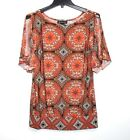 INC S Stain Glass Geometric Print Button Open Shoulder Jersey Knit Top