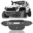 Black Powder Coated Stubby Front Bumper w Winch Plate for Jeep Wrangler JK 07 18