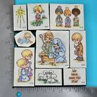 Precious Moments PMI Christmas Nativity Foam Mounted Rubber Stamp Set