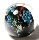 Large Josh Simpson Inhabited Planet Paperweight with Red Spaceship 1993