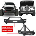 Combo Front Rear Bumper w Tire Carrier Led Lights for Jeep Wrangler JK 07 18