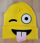 Adult Mens Ladies Emoji Smiley Face W/Tongue Winter Beanie Hat One Size Fits All