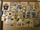 38 PC LOT OF RUBBER STAMPS ON WOOD NICE VARIETY MOST UNUSED