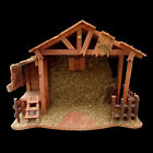 CHRISTMAS NATIVITY MOSS  BURLAP WOODEN CRECHE LARGE two piece CONSTRUCTION