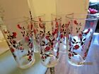 Vintage MID CENTURY MODERN HTF DRINKING GLASSES with RED ROSES BROWN LEAVES 5 !