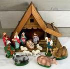 Vintage Nativity Manger 14 pc w Music Box Made in Japan Paper Mache Composition