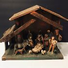 Vintage ITALIAN NATIVITY SET Christmas Manger Scene 12 Figures Made In ITALY