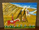 Native American  Tepee Painting Hand Painted On Canvas