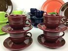 Claret Fiestaware Retired Color Set Of Four Coffee Cups And Saucers
