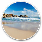 2 x Vinyl Stickers 30cm Porthcurno Beach Cornwall England Cool Gift 16124