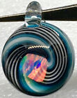 HEADY BORO OCEAN WAVE SPIRAL GLASS PENDANT BIG VIBRANT MULTICOLOR SUSPENDED OPAL