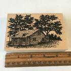 CABIN HOUSE IN TREES NATURE SCENERY STAMPSCAPES Rubber Stamp