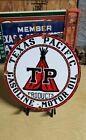 TEXAS PACIFIC GASOLINE porcelain sign vintage TEXACO oil petroleum gas pump