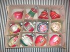 LOT OF 12 OLD VTG SHINY BRITE USA GLASS ORNAMENTS INDENTS BELLS BERRIES MICA