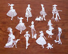 Woman Lady Stroll Coffee Card Topper Tattered Lace Scrapbook Paper Cut Out