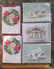 Hallmark Signature Christmas Card 5 Dye Cut 3D 2 Wreath 2 Penguin