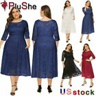 Women Plus Size Party Wedding Evening Formal Lace Bridesmaid Midi Dresses 14-26W