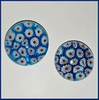 Paperweight Murano Glass Red White  Blue Cane Paperweights Lot of 2