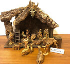 VINTAGE DEPOSE ITALY FONTANINI LARGE 21 PIECE NATIVITY SET with Wooden Manger