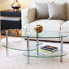 Ryan Rove Ashley 38 Oval Two Tier Clear Glass Coffee Table Under Glass Storage