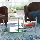 Ryan Rove Fenton 38 Oval Two Tier Clear Glass Coffee Table Under Glass Storage