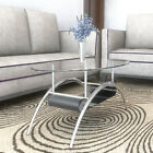 Ryan Rove Cleveland 38 Inch Glass Coffee Table with Black Mesh Magazine Holder