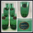 6 NOS Vtg Anchor Hocking Forest Green Roly Poly 8 oz Juice Glasses w STICKERS