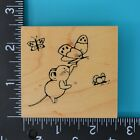 Great Impressions Mouse and Butterflies F194 Wood Mounted Rubber Stamp Butterfly