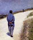 Oil painting gustave caillebotte man in a smock in landscape hand painted art