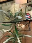 MCM BEVELED GLASS SIDE TABLE W PAINTED WROUGHT IRON FLOWER BASE MATCHING COFFE