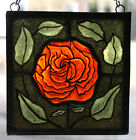 Stained GlassHand PaintedKiln Fired Red Rose 1406 02