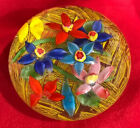 Floral Art Ribbon Glass Large Paperweight