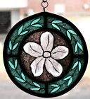 Stained GlassHand PaintedKiln Fired White Flower Panel 1001 05