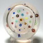 Large Parabelle Glass 1986 Spaced Millefiori Paperweight with Top Facet