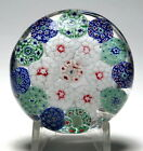 Colorful Small Antique Bohemian Concentric Millefiori Paperweight