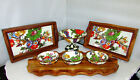 Mackenzie Childs White Flower Market 2 Enamel Wood Trays 4 Part Server