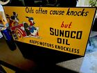 Sunoco Oil Porcelain Sign Disney Donald Duck Mickey Mouse Pluto