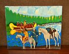 Native American Indians In Canoe Painting One Of A kind Hand Painted Unique