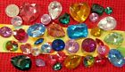 LOT OF 37 PC POINTED BACK GEMS RHINESTONE ACRYLIC ASSORTED SHAPE COLORS SHAPES